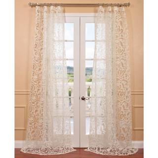 Margo Ivory Patterned Sheer Curtain Panel