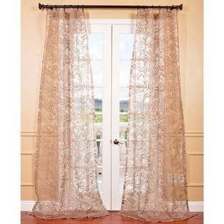 Sabrina Taupe Patterned Sheer Curtain Panel