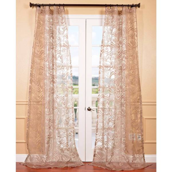 Eff Sabrina Taupe Patterned Sheer Curtain Panel Overstock Shopping Great Deals On Eff Sheer