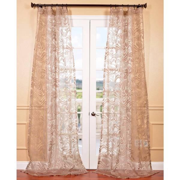 Eff sabrina taupe patterned sheer curtain panel for Patterned sheer curtain panels