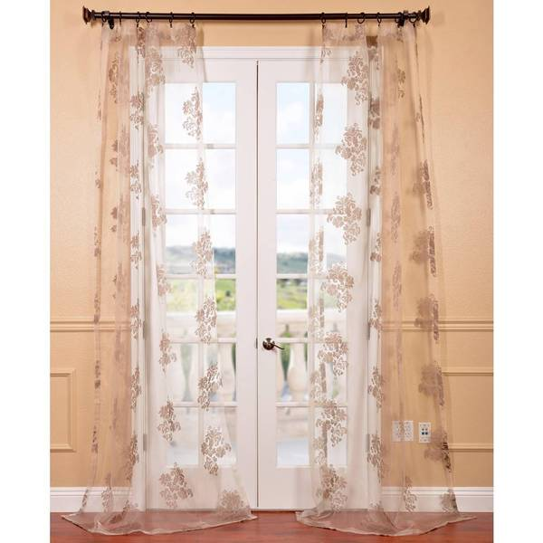 Francesca taupe patterned sheer curtain panel overstock for Patterned sheer curtain panels