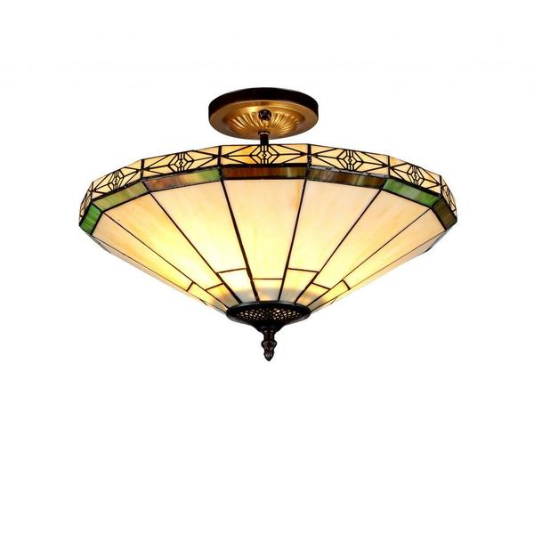 Bronze Tiffany-style Mission-design 2-light Flush