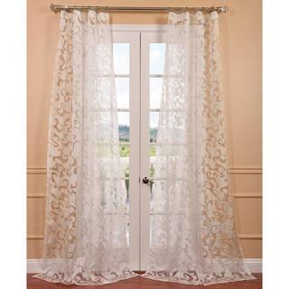 Alesandra White Patterned Sheer Curtain Panel