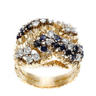 18k Yellow Gold 1ct TDW Sapphire Textured Estate Ring (I-J, VS1-VS2)