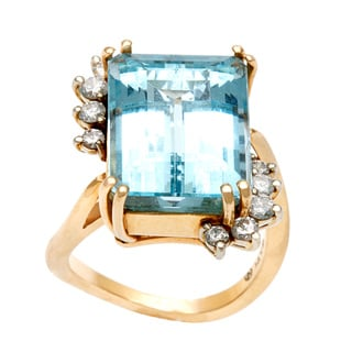 14k Yellow Gold 1/2ct TDW Aquamarine Cocktail Ring (G-H, VS1-VS2)