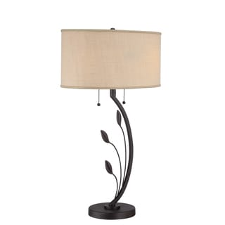 Lively 2-light Brown Textured Table Lamp