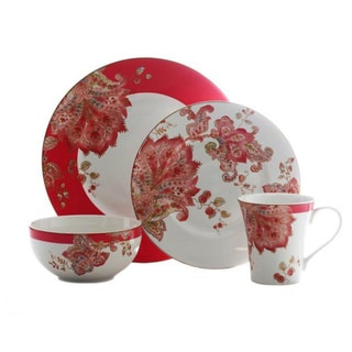 222 Fifth Norah Red 16-piece Dinnerware Set