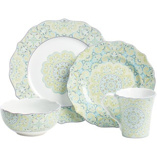 222 Fifth Lyria Teal 16-piece Dinnerware Set