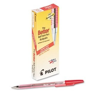 Pilot Red Ink Medium Better Ballpoint Pen (Pack of 12)