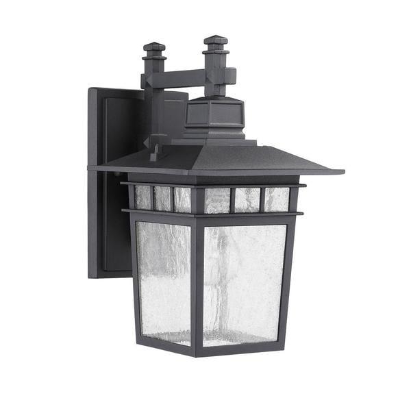 Transitonal 1-light Black Outdoor Wall-mounted Light Fixture