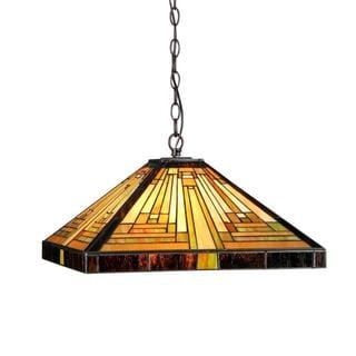 Tiffany Style Mission Design 2-light Pendant in Bronze