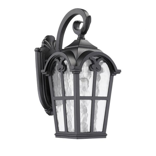 Transitonal 1-light Black Outdoor Clear-glass Wall Light Fixture