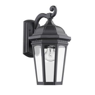 Transitonal 1-light Black Aluminum Outdoor Wall Light Fixture