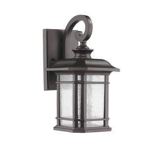 Transitional 1-light Bronze Clear-glass Outdoor Wall Light Fixture