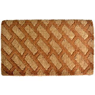 Outdoor Coconut Fiber Diagonal Bricks Door Mat (2'6 x 1'6)