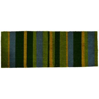 Outdoor Coconut Fiber Green Stripes Door Mat (4' x 1'6)