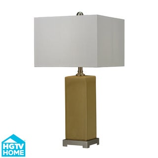 HGTV HOME Yellow Glaze Ceramic Table Lamp