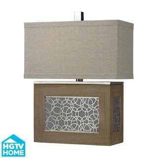 HGTV HOME Laser Cut Metal Panel/ Wood Table Lamp
