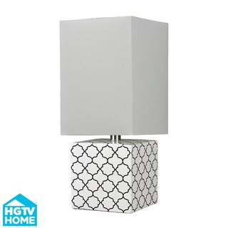 HGTV HOME Glossy White Moorish Pattern Ceramic Table Lamp
