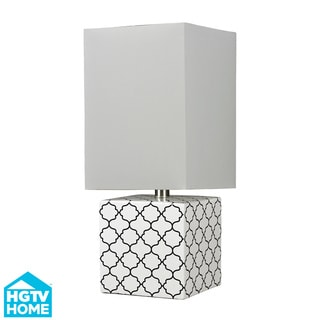 Glossy White Moorish Pattern Ceramic Table Lamp