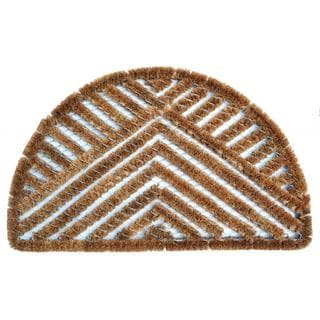 Outdoor Coconut Fiber Semi Circle Triangle Door Mat (2'6 x 1'6)