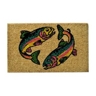 Outdoor Coconut Fiber Two Fish Door Mat (2'6 x 1'6)