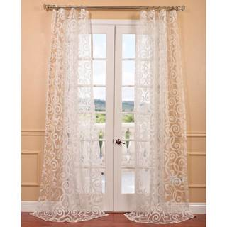 Marietta White Patterned Sheer Curtain Panel