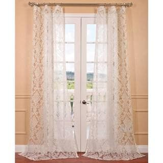Antoinette White Patterned Sheer Curtain Panel