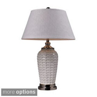 1-light Winter White Glazed Table Lamp
