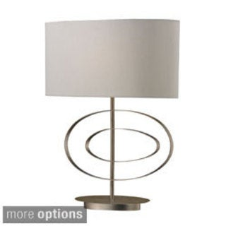 1-light Silver Leaf Oval Table Lamp