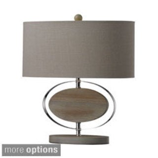 1-light Washed Wood/ Metal Table Lamp
