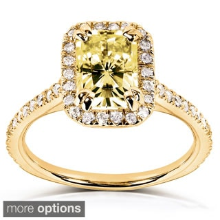 Annello 14k White or Yellow Gold Yellow Radiant-cut Moissanite and 1/4ct TDW Diamond Engagement Ring (G-H, I1-I2)