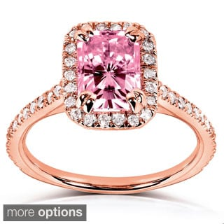 Annello 14k White or Rose Gold Pink Radiant-cut Moissanite and 1/4ct TDW Diamond Engagement Ring (G-H, I1-I2)