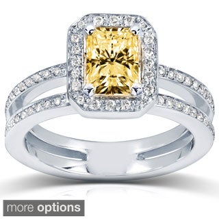 Annello 14k Gold Fancy Yellow Radiant-cut Moissanite and 1/3ct TDW Diamond Engagement Ring (G-H, I1-I2)