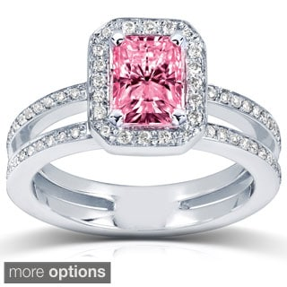 Annello 14k White or Rose Gold Pink Radiant-cut Moissanite and 1/3ct TDW Diamond Engagement Ring (G-H, I1-I2)