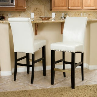 Christopher Knight Home Louigi Ivory Leather Bar Stool (Set of 2)