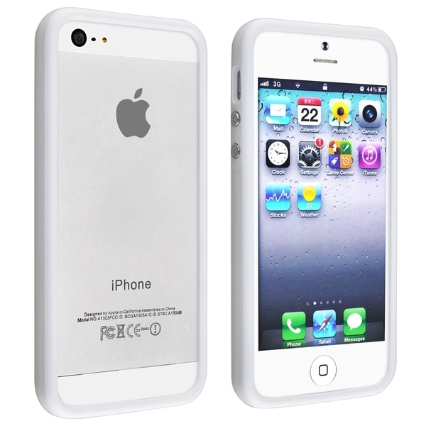 INSTEN White TPU Bumper with Aluminum Button for Apple iPhone 5/ 5S