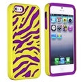 BasAcc Purple Skin/ Yellow Zebra Hybrid Case for Apple iPhone 5/ 5S
