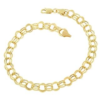 14k Yellow Gold 6.6-mm Round Link Charm Bracelet