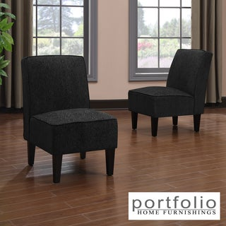 Portfolio Wylie Armless Chairs in Black Chenille (Set of 2)
