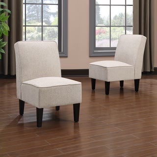 Portfolio Wylie Armless Chairs in Cream Chenille (Set of 2)