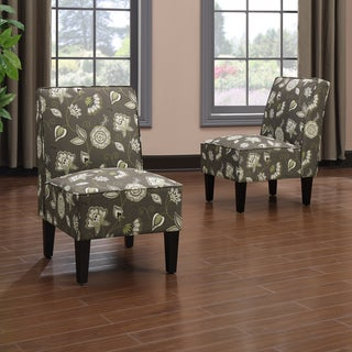 Portfolio Wylie Armless Chairs in Brown Floral (Set of 2)
