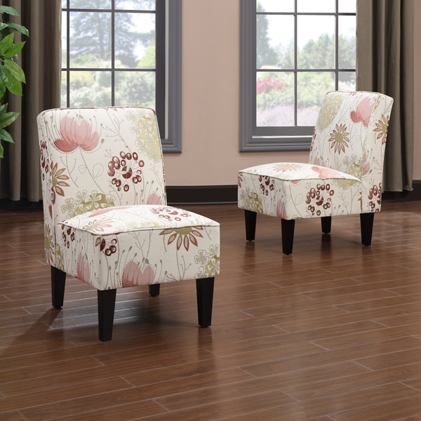 Portfolio Wylie Armless Chairs in a Red Floral (Set of 2)