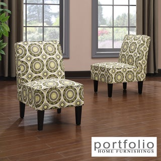 Portfolio Wylie Armless Chairs in a Green Pinwheel Print (Set of 2)