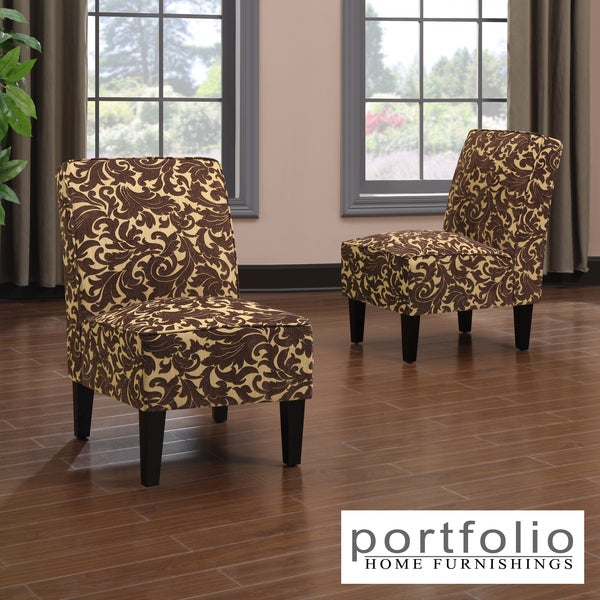 Portfolio Wylie Armless Chairs in a Carmel Brown Velvet (Set of 2)