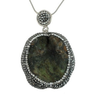 Sterling Silver Druzy and Marcasite Necklace
