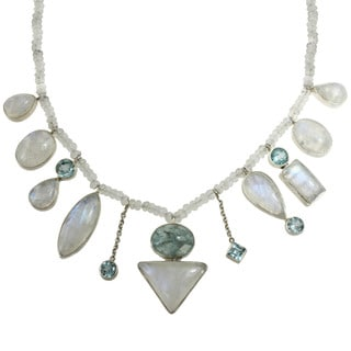 Sterling Silver Moonstone, Aquamarine and Blue Topaz Necklace
