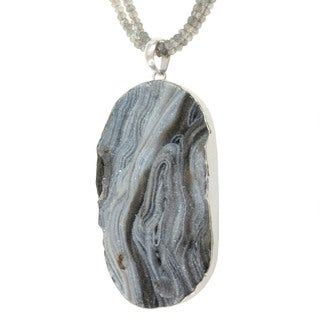 Sterling Silver Druzy and Labradorite Necklace
