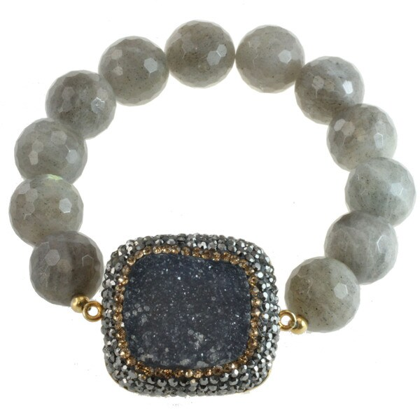Sterling Silver Labradorite, Druzy and Marcasite Bracelet