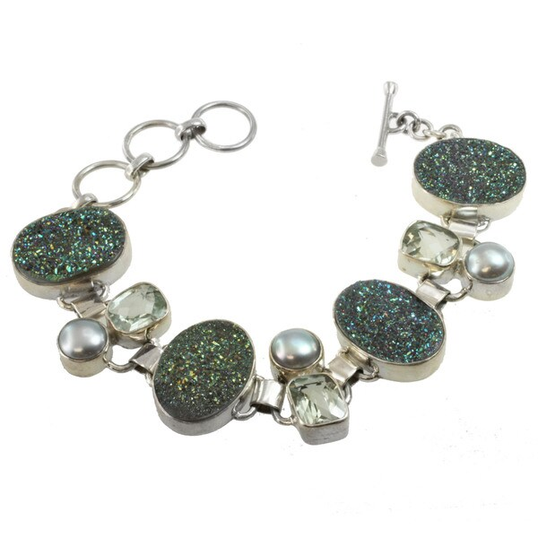 Sterling Silver Druzy, Green Amethyst and Grey Pearl Bracelet